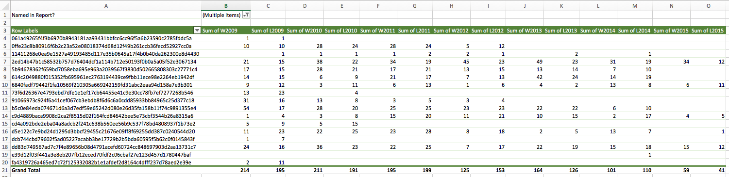 Pivot table settings